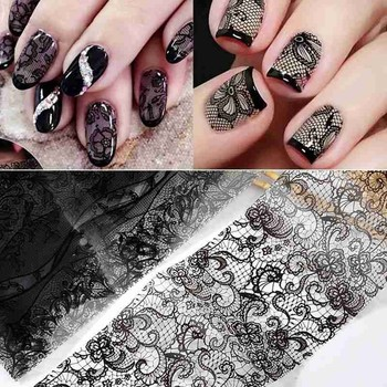 10pcs White/black Lace Star Sticker Starry Sky Flower Nails Art Transfer Foil Stickers Diy Adhesive Decals Designer Decorations image