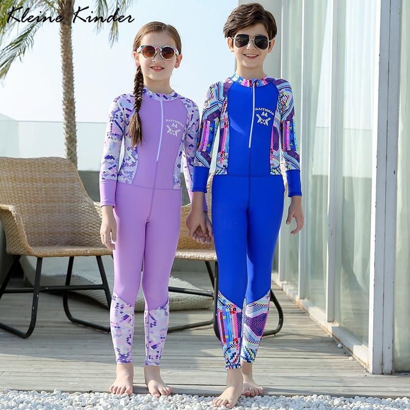 Детский спортивный купальный костюм, Цельный Детский купальный костюм с длинными рукавами для девочек и мальчиков с защитой от ультрафиоле...