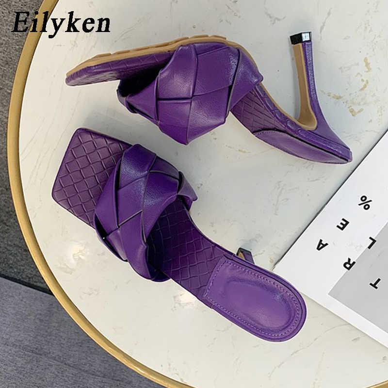 Eilyken yaz yeni tasarım yılan baskı kare ayak topuklu yüksek kaliteli PU deri terlik gladyatör sandalet kadın slaytlar ayakkabı