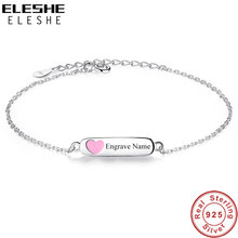 ELESHE Personalized Engrave Name Jewelry 925 Sterling Silver Chain Bracelet with Pink Enamel Heart Bracelets for Girls Kids Gift(China)