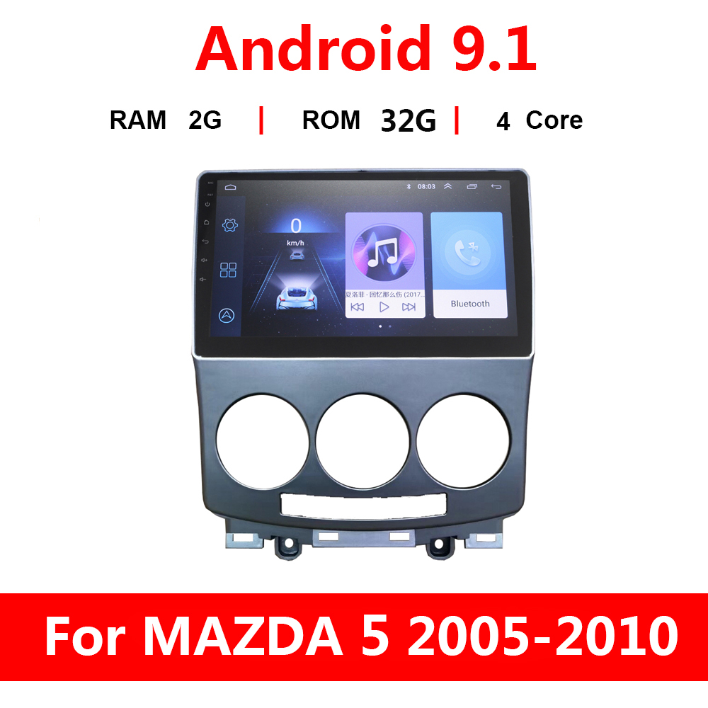 9 inch 2G+32G Android 9.1 Car Radio DVD Player for <font><b>Mazda</b></font> <font><b>5</b></font> 2005-2010 <font><b>GPS</b></font> Navigation Auto Multimedia Audio Video Player SWC WiFi image