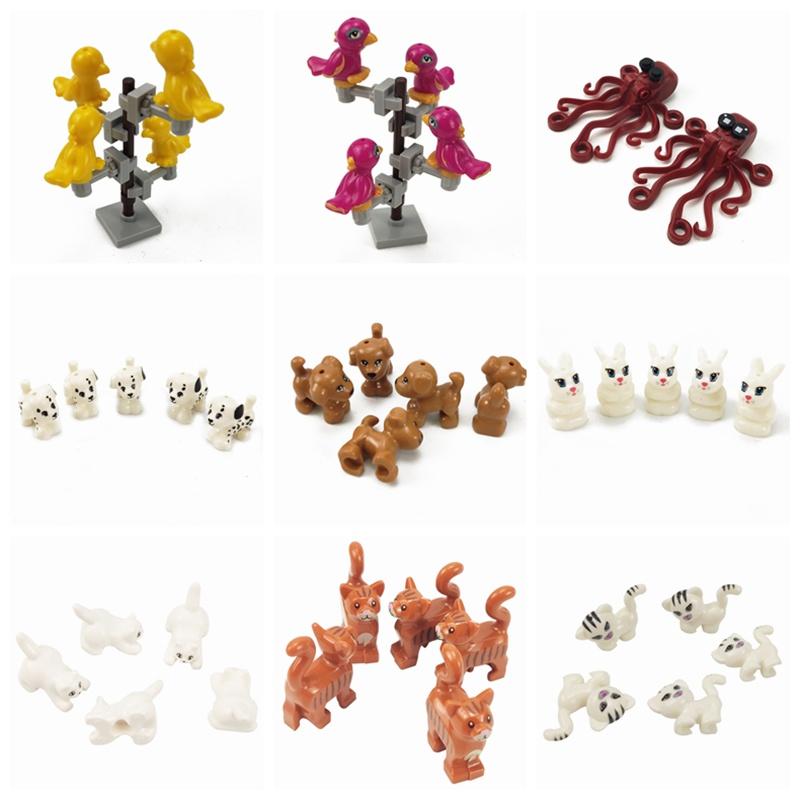 MOC Block Animals The Rabbit Bird Dog Pet Cat Model Building Blocks Toys for Children Blocks Gifts for Kids Learning Toys