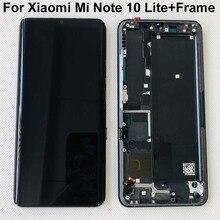 "6.47 ""Cornice originale Per Xiaomi Mi Nota 10 Lite Schermo LCD Display + Touch Panel Digitalizzatore Per Xiaomi Nota lite M2002F4LG M1910F4G"