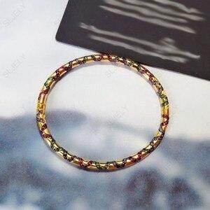Image 4 - Sljely高品質 925 スターリングシルバー多色ジルコニアクロス部族バングルイエローゴールド色女性マナブレスレットジュエリー
