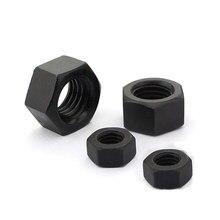 100 шт., шестигранные гайки M2 M2 M2, M2 8,8, M2 14, M16 черного цвета из углеродистой стали GB6170