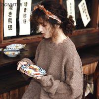 Pullover Frauen Einfache Süße Vintage Japanische Mode Retro Frische College Mädchen Abgeschnitten Pullover Kawaii Beliebte Frauen Strickwaren