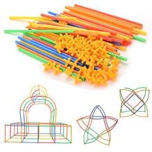 100 قطعة/المجموعة القش بناء القش إدراج لغز القش بناء الإبداعية البلاستيك الملونة لغز لعبة 4D مصاصة بناء