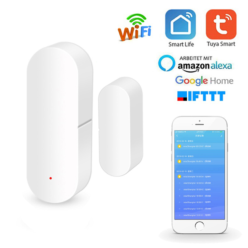 Smart WIFI Door Magnetic Alarm Sensor Tuya APP Anti-theft Door Open/Closed Detectors Remote Control Works With Alexa Google Home