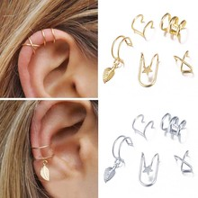 Cartilage Earring Jewelry Ear-Cuff Non-Piercing Gold-Leaves Fake Women for 5pcs/Set