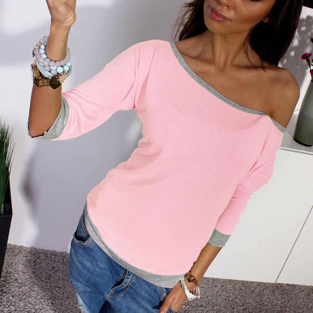 Kasual Wanita T Shirt Musim Gugur Warna Solid O Leher Satu Bahu T-shirt 3/4 Katun Lengan Kemeja Slim Pullover Harajuku Ropa mujer