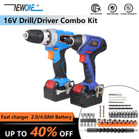 16V electric Lithium Cordless Drill/Driver & 150Nm Torque Impact Screw Driver Power Tool bag Combo Kit with 4.0Ah Battery