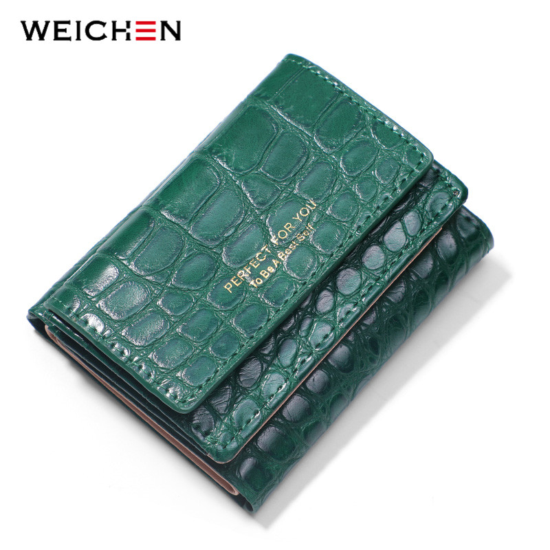 WEICHEN Trifold Small Wallet Women Alligator Synthetic Leather Slim Purses Carteira Portfel Forever Young Female Purse Wallets