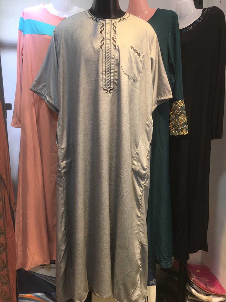 Fashion Muslim Arab Saudi Jubba Thobe Katun Atasan dan Celana Islam Timur Tengah Menyembah Kaftan Lengan Pendek Panjang Abaya untuk pria