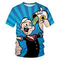 2021 summer men's and kids clothing cartoon animation loose and comfortable boutique 3DO collar cotton T-shirt