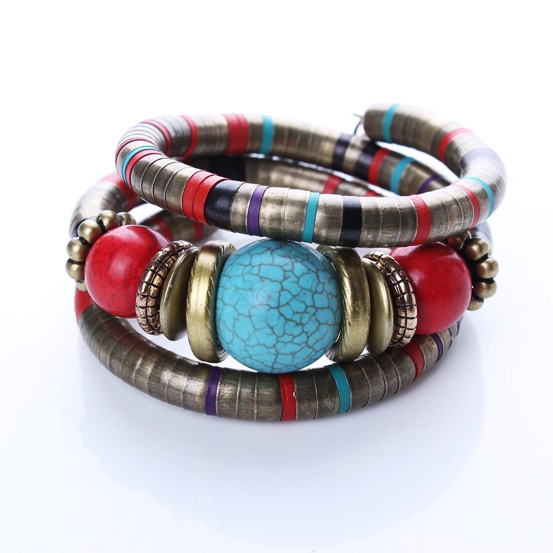 Boho Punk Blue Natural Stone Bead Bohemian Bangle Bracelet For Women Buddha Snake Bone Tibetan Vintage Jewelry
