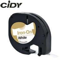 CIDY für Dymo LT 18769 18771 18768 18770 Stoff Eisen-auf schwarz auf weiß 12mm * 2m kompatibel Dymo Letratag 91201 Band für LT-100H