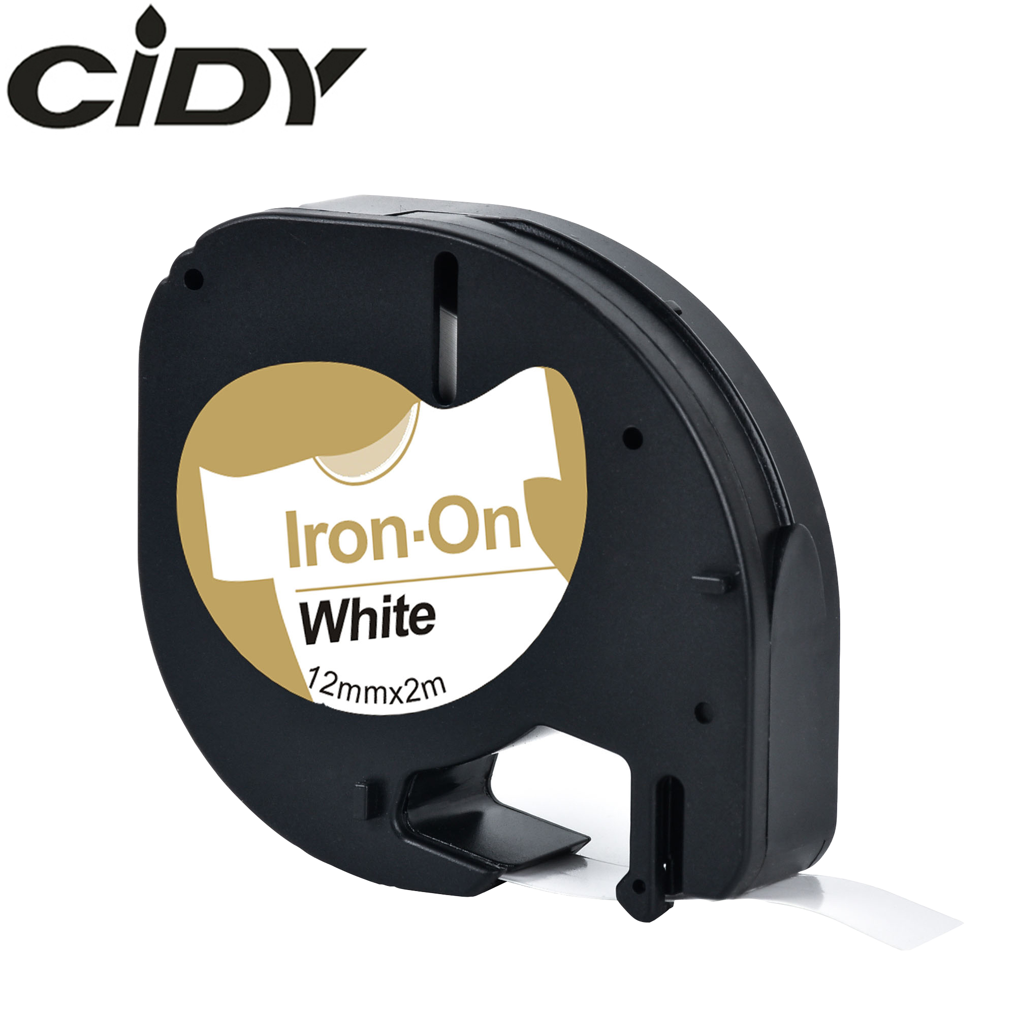CIDY For Dymo LT 18769 18771 18768 18770  Fabric Iron-on Black On White 12mm*2m Compatible Dymo Letratag 91201 Tape For LT-100H