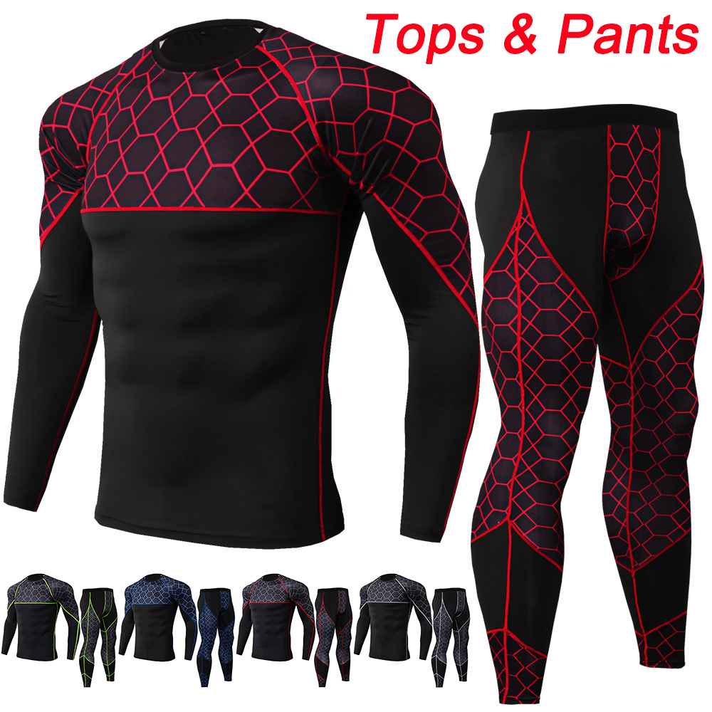 Motorcycle Men s Underwears sets Sport Breathable Quick drying Base Layers Tight Long Tops  amp  Pants Sportswear Underwear