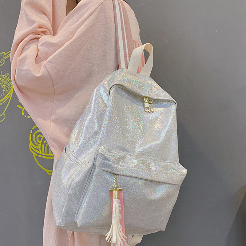 Fashion Women School Backpack Shiny Laser Travel Student Bag Ladies Large Capacity Nylon Hologram Silver Holographic Backpacks