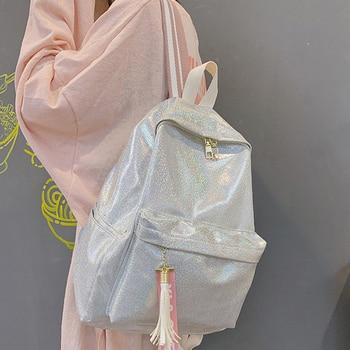 цена на Fashion Women School Backpack Shiny Laser Travel Student Bag Ladies Large Capacity Nylon Hologram Silver Holographic Backpacks