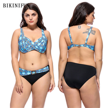 New Plus Size Bikini Women Swimsuit Floral Print Bathing Suit Big Cup Retro Vintage Swimwear 3XL-7XL Backless 2 Piece Bikini Set plus floral print bikini set