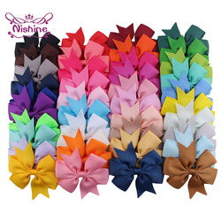 Nishine 20pcs/lot Grosgrain Ribbon Hair Bow with Clips Baby Girls Bowknot Clips Hairpins Children Photo Shoot Hair Accessories