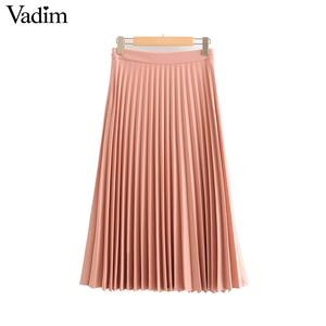 Image 5 - Vadim womem basic solid pleated skirt side zipper green black midi skirts female casual cozy fashion mid cald skirts BA865
