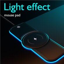 Carregamento sem fio rgb mouse pad xxl 10w/7.5w luminoso grande gaming teclado pad computador mousepad mesa do pc esteira do jogo com backlit