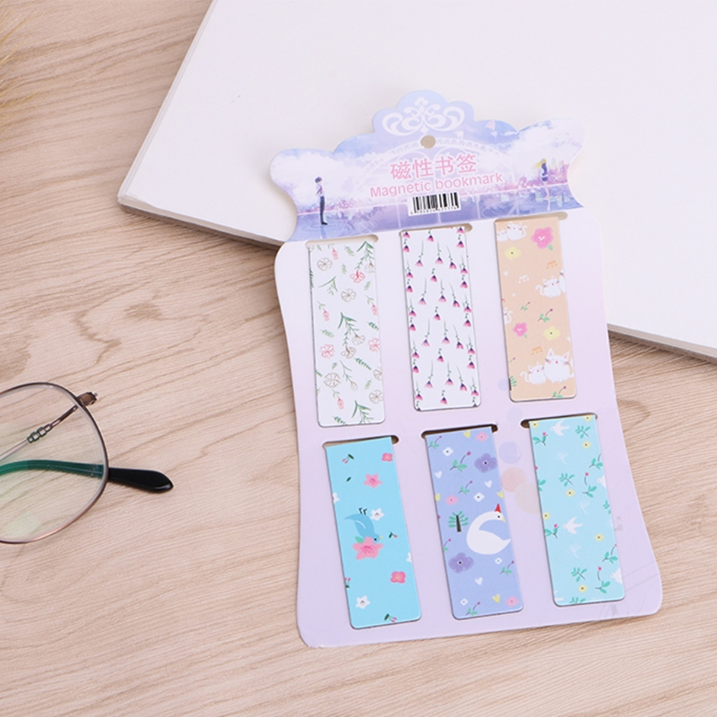 6Pcs/lot Flower Magnetic Paper Bookmarks Note Memo Stationery Book Mark Bookworm LX9A