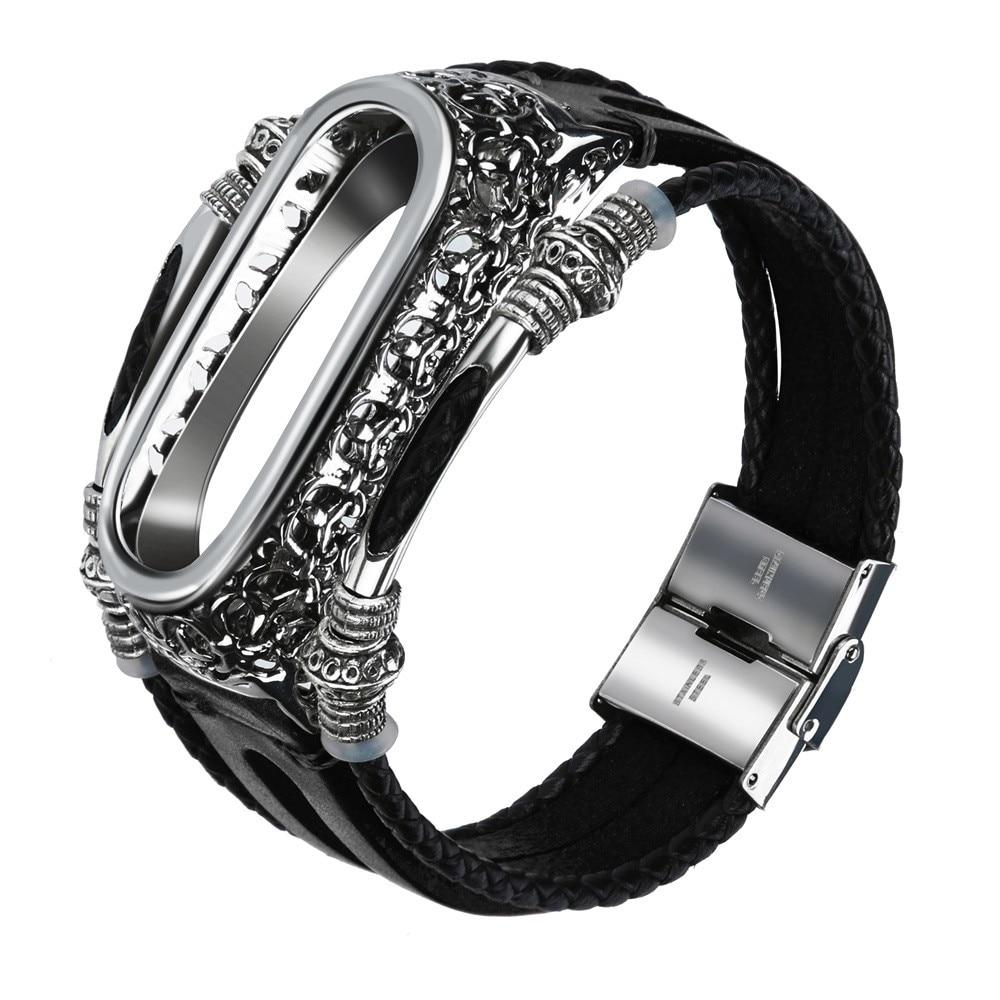 Watchband Wrist Strap For Xiaomi Mi Band 3 Leather Watchband For Xiaomi Mi Band Wristband Replacement Strap Smart Wristband