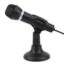 Компьютер ноутбук настольный микрофон провод караоке ручной микрофон 3,5 мм микрофон с базой для записи пения