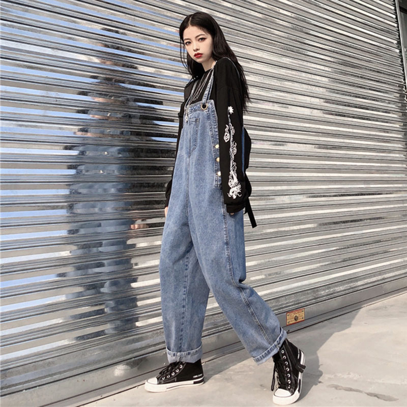 2020 New Loose Jean Jumpsuit Women Plus Size Wide Leg Denim Overalls Bib Cowboy Pants Denim Tooling Suspender Harem Pants KZ115