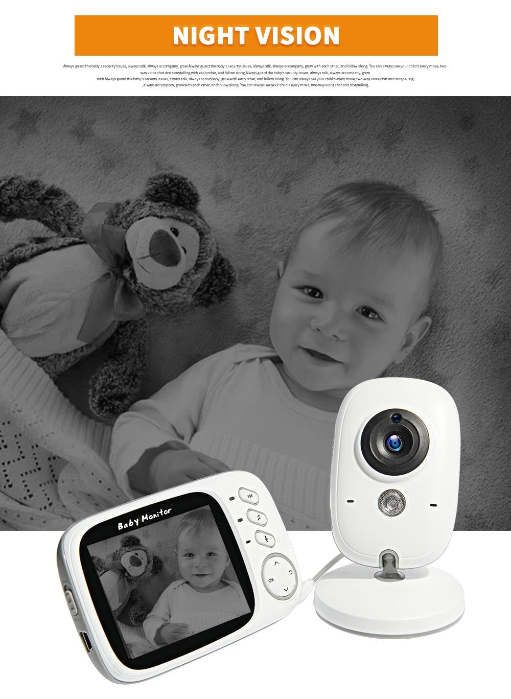 Câmera de Segurança Night Vision Temperatura Dormir Monitor
