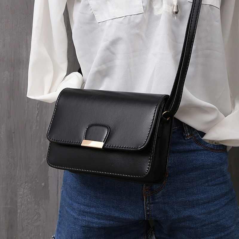 Moda Simples Sólidos Bolsa de Ombro Pequenas Bolsas de Couro das mulheres Crossbody Sacos para Meninas Messenger Bags para o Sexo Feminino bolso mujer