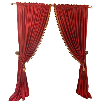 Retro Wine Red Blackout Curtain With Poom Poom Living Room Red Sheer Curtains Joyous Wedding Thickened Velvet Curtains Fabric Buy At The Price Of 34 52 In Aliexpress Com Imall Com