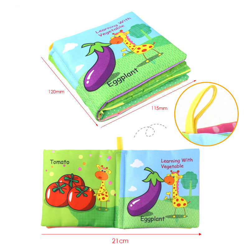 Infant Enlightenment Cognitive Pocket Book Baby Pink Pig Cartoon Vegetable Fruit Puzzle Toy Learning Books
