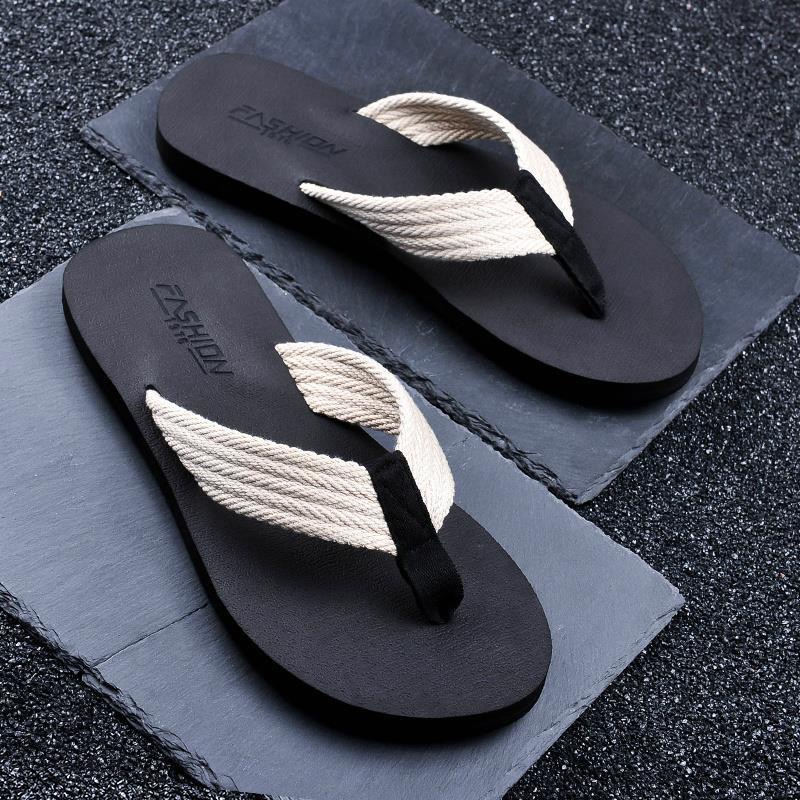 WEH Flip Flops men Fashion Beach Summer Men Shoes Sandals Open Toe Slipper indoor & outdoor Flip-flops big size 46 Male Shoes