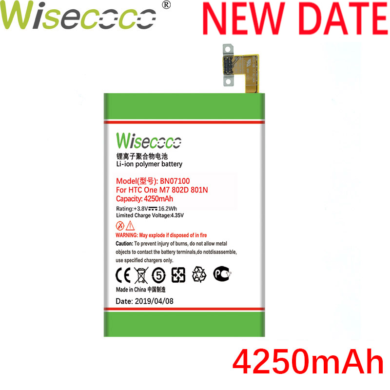 Wisecoco BN07100 4250mAh Newly Produced Battery For HTC One M7 801E 801N 801S 802T 802D 802W HTL22 Phone Battery Replace