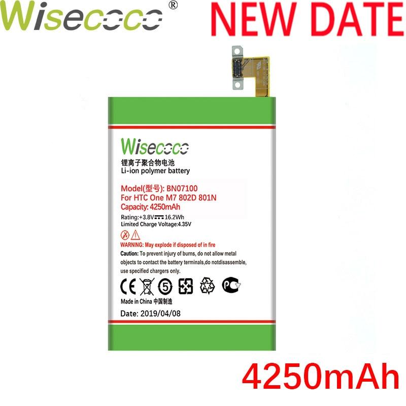 Wisecoco BN07100 4250mAh Recentemente Produzido Bateria Para HTC One M7 801E 802D 801N 801S 802T 802W bateria Do Telefone HTL22 Substituir
