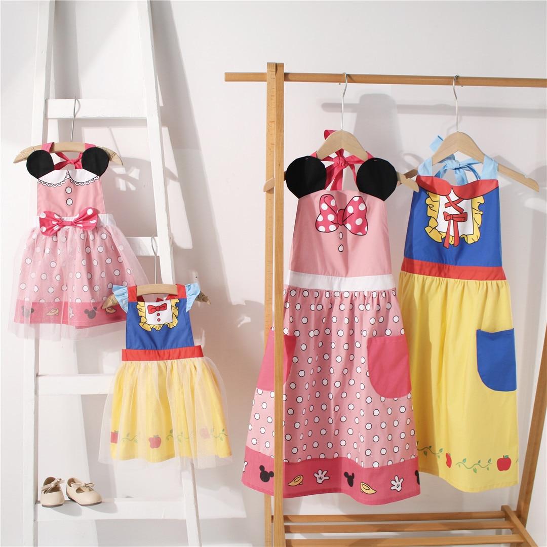 Tonytaobaby Girls' New Parent-Child Apron Cartoon Cosplay Dress Girls Dress  Princess Dress