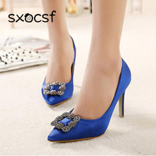 Women Shoes High Heels Women Sexy Heels Pumps Pointed Toe Silk Stilettos Female Sexy Thin Pumps Elegant Wedding Shoes