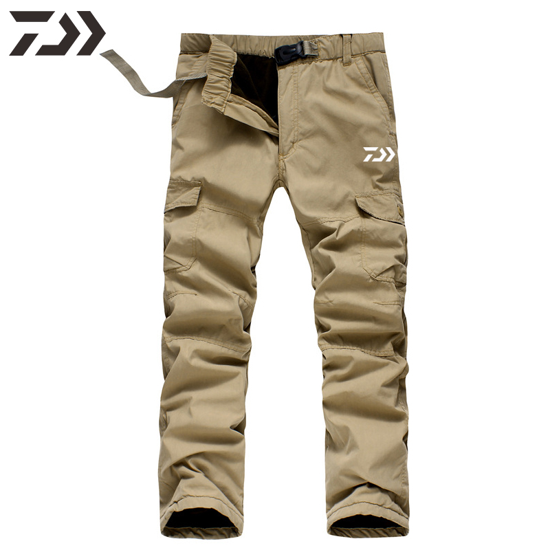 Daiwa Pants Men Fishing Pants Winter Thermal  Solid Multi-pocket Cotton Casual Trousers Sport Loose Pants Men In Sweatpants