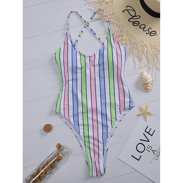 One Piece Swimsuit Women Swimwear Sexy Striped Bathing Suit Woman Bikini Swimming for Beach Wear Monokini Female Swimsuits