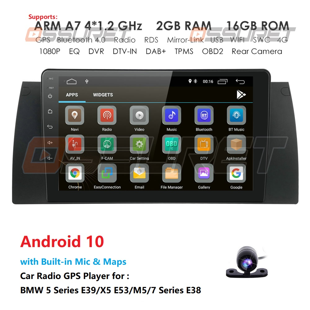 9'' 1 <font><b>Din</b></font> Android 10 IPS Car Radio Multimedia Video Player For BMW X5 E39 E53 1999 2000 <font><b>2001</b></font> 2002 2004 2005 2006 GPS Navigation image
