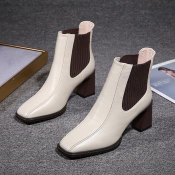 2020 botas de Chelsea para mujer, botas de tacón alto cuadradas para mujer, botas de mujer, zapatos de tejido elástico, zapatos casuales para mujer 1