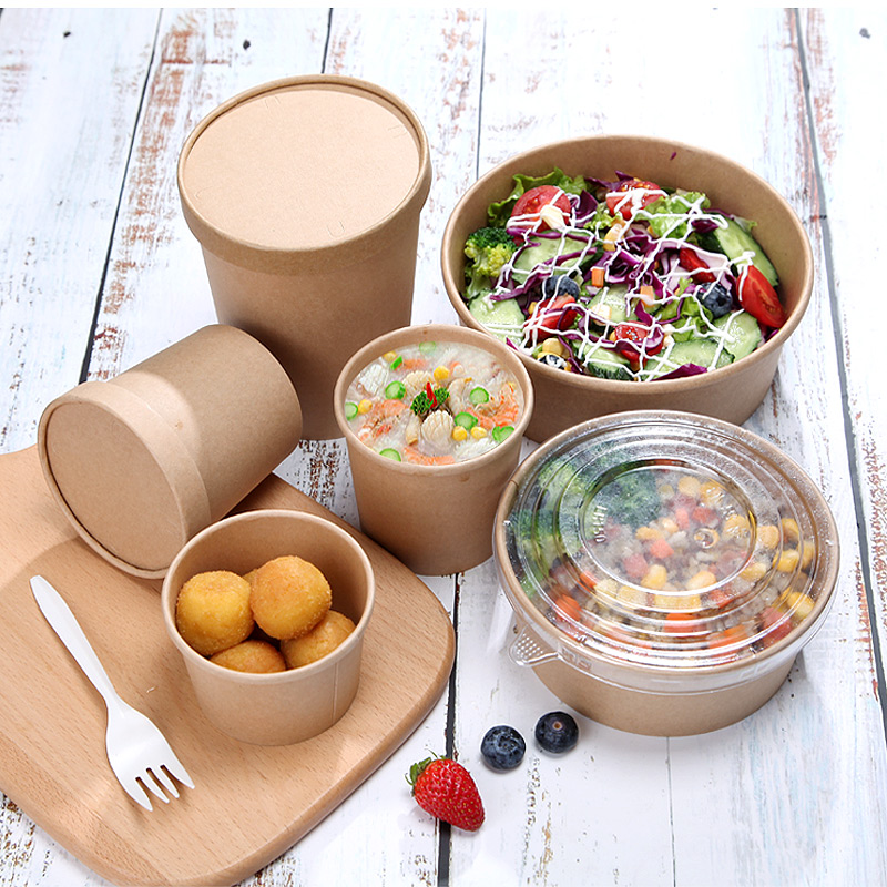 50pcs/pack Thick Paper Bowl Disposable Fast Food Package Takeaway Box With Lid