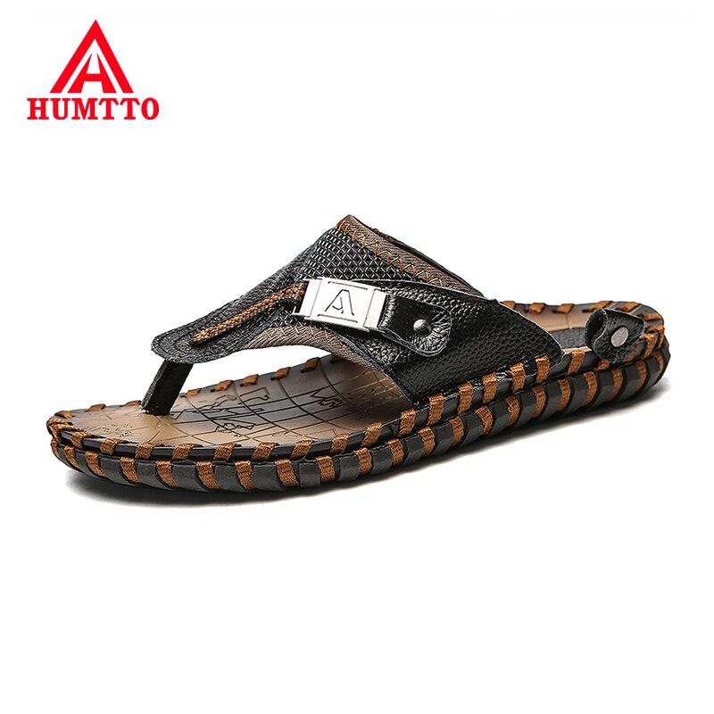 Hot Sale Fashion Men Clip Foot Flip Flops Summer Beach Walking Breathable Soft Mens Shoes Leather Casual Classic Black Male Flip Flops