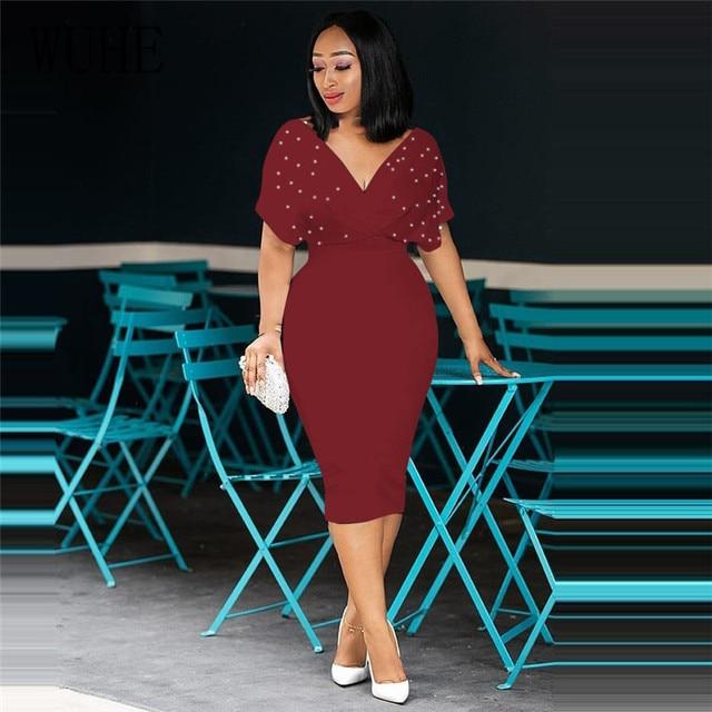 WUHE Plus Size 3XLFashion Slim Dresses for Women V Neck with Bead Classy Ladies Work Office Wear Bodycon Elegant Femme Clothes 4