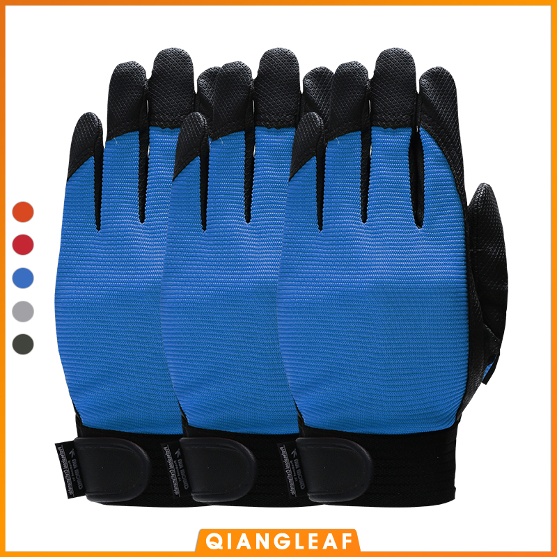 QIANGLEAF 3pcs Brand Blue Work Gloves Safety Equipment Man Driving Glove Mining Safety Wear Resistant Rubber Gloves 2510