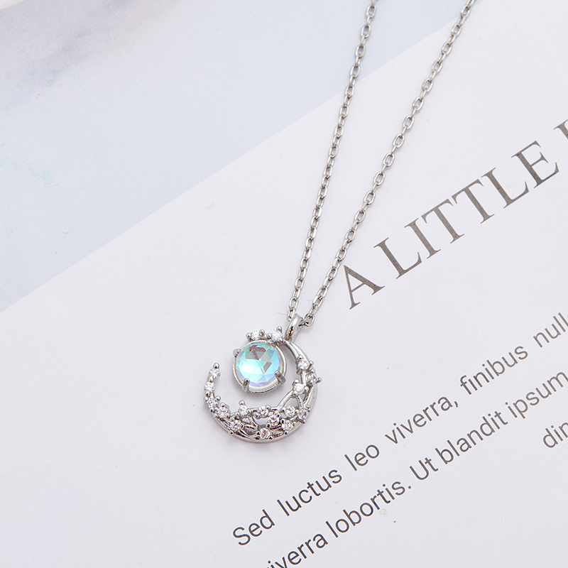New Fashion Women Jewelry Crescent Pendant Moon Necklace 925 sterling Silver Jewelry Best Quality